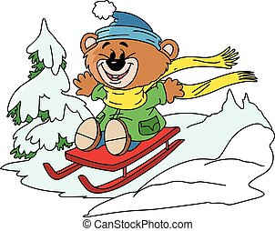 Cartoon bear having fun on a red sledge in winter time vector illustration