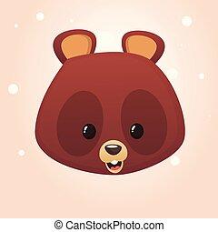 Cartoon bear head icon. Vector illustration