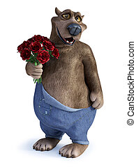 Cartoon bear holding a bouquet of red roses.