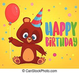 Cartoon bear holding a red balloon