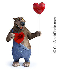 Cartoon bear holding heart shaped balloon and chocolate.