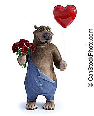 Cartoon bear holding heart shaped balloon and roses.