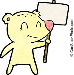 cartoon bear holding sign