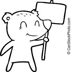 cartoon bear holding sign