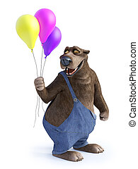Cartoon bear holding three balloons.