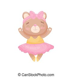 Cartoon bear in the dress of a ballerina. Vector illustration on white background.