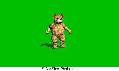 cartoon bear is dancing on green screen