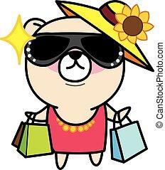 Cartoon Bear is shopping illustration