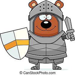 Cartoon Bear Knight Sword