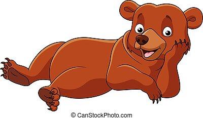 Cartoon bear lazy isolated - Vector illustration of Cartoon...