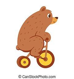 Cartoon bear on bicycle