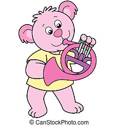 Cartoon Bear Playing a French Horn