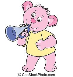 Cartoon Bear Playing a Trumpet - Cartoon Bear playing a...