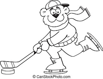 Cartoon Bear Playing Hockey
