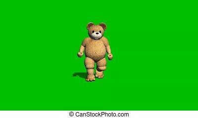 cartoon bear runs backwards on green screen