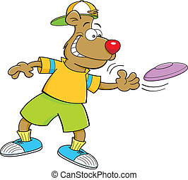 Cartoon illustration of a bear throwing a flying disc.