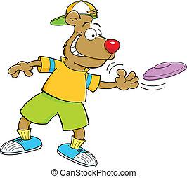 Cartoon Bear Throwing a Frisbee - Cartoon illustration of a...