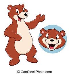 Cartoon Bear - Vector illustration of a funny bear for...