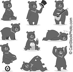 Cartoon bear vector set. - Collection of cute cartoon bear...
