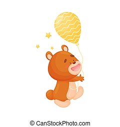 Cartoon bear with a balloon. Vector illustration on a white background.