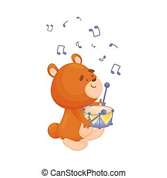 Cartoon bear with a drum. Vector illustration on a white background.
