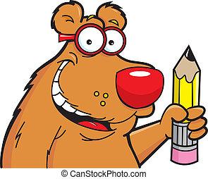 Cartoon Bear with a Pencil