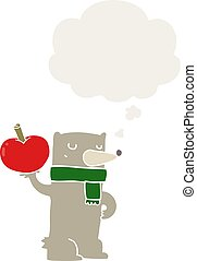 cartoon bear with apple and thought bubble in retro style