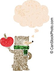 cartoon bear with apple and thought bubble in retro textured style