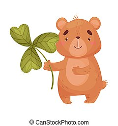 Cartoon bear with clover. Vector illustration on white background.
