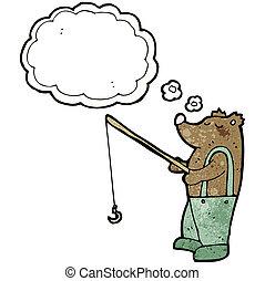 cartoon bear with fishing rod