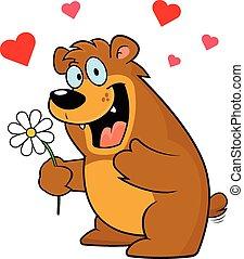 Cartoon Bear With Flower