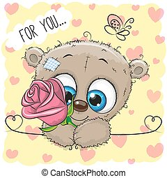 Cartoon Bear with flower on a yellow background