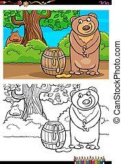 cartoon bear with honey coloring book