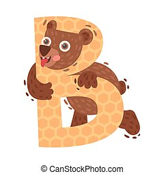 Cartoon bear with letter B. Vector illustration on a white background.