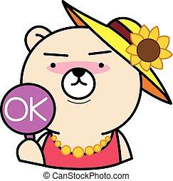 Cartoon bear with ok sign illustration