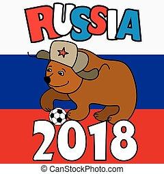 Cartoon Bear with soccer ball wearing a Russian hat earflaps