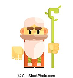 Cartoon bearded gnome with a staff in his hands. Fairy tale, fantastic, magical colorful character