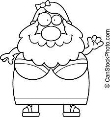 Cartoon Bearded Lady Waving