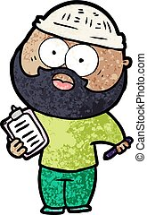 cartoon bearded man with clipboard and pen