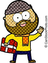 cartoon bearded man with present