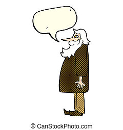 cartoon bearded old man with speech bubble