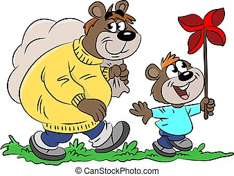 Cartoon bears, father and son, go for a walk to spend some time together vector illustration