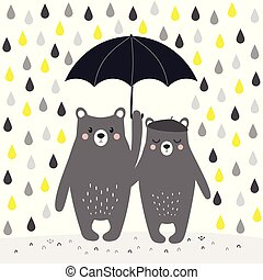 cartoon bears with umbrella