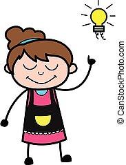 Cartoon Beautician Got an idea