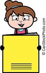 Cartoon Beautician holding a paper banner