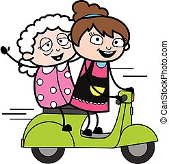 Cartoon Beautician Riding Scooter with an old lady