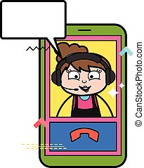 Cartoon Beautician Video Calling on Mobile