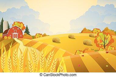 Cartoon beautiful fall farm scene