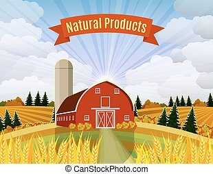 Cartoon beautiful fall farm scene - Countryside landscape...