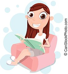 girl sitting on sofa and reading a book